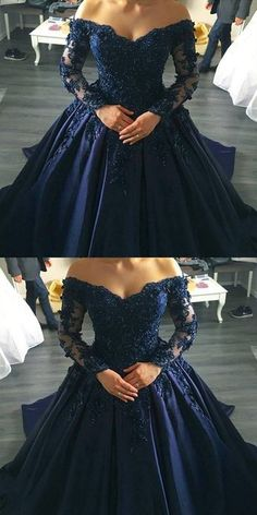 midnight blue prom dresses ball gowns lace long sleeves,off the shoulder prom dress,ball gowns wedding dress,navy blue wedding dresses #redweddingdresses