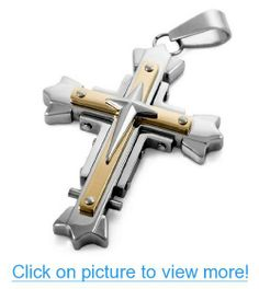 JBlue Jewelry Men's Stainless Steel Pendant Necklace Silver Gold Cross Vintage-with 23 inch Chain (with Gift Bag)