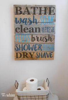 Bathroom Pallet Sign and Wire Basket for Toilet Paper| Vintage Farmhouse Bathroom Makeover | Denise on a Whim                                                                                                                                                      More