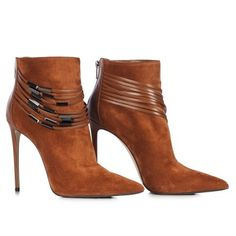 Ankle boot in Kira, suede calfleather and suede calfskin in siena colour