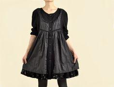 Women Black Lace Cardigan Dresses Long Sleeve Round Neck Dresses Party Dress Day Dress Plus Size Clothing on Etsy, $62.00