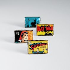 For the present or former comic book junkie, a way to make black tie occasions or French cuffs a little less serious.                     Superhero Cuff Links, $89.95, Redenvelope.com