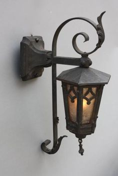 SOLD HH 5343. Wrought Iron Exterior Lantern, Antique Outdoor Lighting, Antique and Spanish Revival Lighting: Sconces,Chandeliers etc. at Revival Antiques