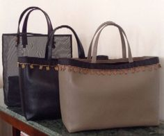 Aleila / Fall 2014 - Nazli leather tote and Happy   sheer shopping bag