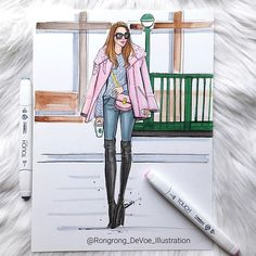 Winter style Inspired by one of my favorite blogger @wendyslookbook. TAG three of your favorites, who has the most votes, will be my inspiration next time #streetstyle #winter #fashionblogger #art #sketch #drawing #fashion #blogger