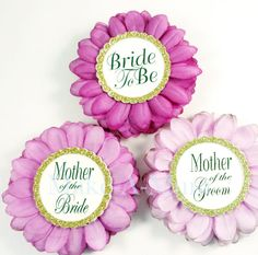 Perfect for the Bridal shower, Mother of The Bride or Wedding party, its your Day! LUSCIOUS simplicity and elegance all in one, a hand-dyed FUSCHIA TRIO colored silk flower mum. The saying of your choice is printed onto linen paper and surrounded by a ring of beautiful GLASS Winter White pearls.  Wear it around to your destinations as you/bridal party get ready for your special day. *********GIFT BOX UPGRADE*********** https://www.etsy.com/listing/273454968/baby-...