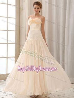 Pretty Empire Sweetheart Champagne Long Holiday Dresses for Teenagers