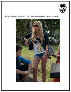 Claire Julien wearing WILDFOX Luck Potion Tank in her new film The Bling Ring!! #wilfox #wildfoxcoutureuk #lucky #tank