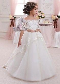 Neu Blumenmädchen Kleid Mädchen Kinder Prinzessin Kommunion Kleid