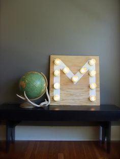 DIY: mason jar monogram light