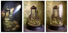Free standing model under glass dome.  Dioramas and decors © Graeme Webb 2011, foamboard, plaster, wood, plant materials, clay, papier mache, printed media, acrylics, inks and oils.