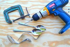 Bending Silverware for Crafts   How to Make a Wine Rack (Craft Wars) Bend spoons and drill holes in ...