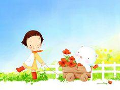 Kim Jong Bok : Sweet Childhood Lovely Girl - Sweet Little Girl Cartoon Illustration 14 Illustration Cartoon, Korean Illustration, Little Girl Cartoon, Little Girls, Muñeca Diy, Sweet Pic, Illustrators, Poppies, Childhood