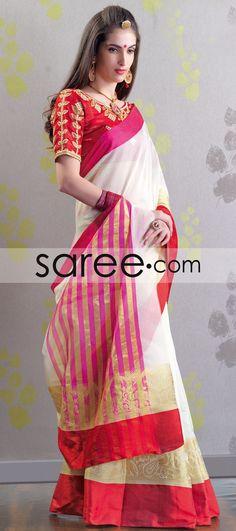 WHITE CHANDERI COTTON SAREE WITH ZARI #Saree #GeorgetteSarees #IndianSaree #Sarees #SilkSarees #PartywearSarees #RegularwearSarees #officeWearSarees #WeddingSarees #BuyOnline #OnlieSarees #NetSarees #ChiffonSarees #DesignerSarees #SareeFashion