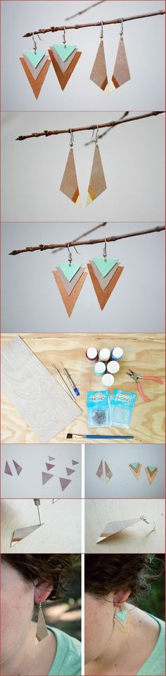 awesome DIY Wood Earrings Two Ways
