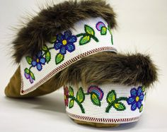 Beaded Moose hide Moccasins, made by an Elder, of the Tlicho from Behchoko NT. $450.00