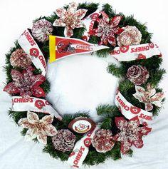 """23"""" Kansas City Chiefs Christmas Wreath KC Football NFL"""