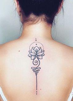 Unalome Tattoo, Lotusblume Tattoo, Tattoo Hals, Unalome Symbol, Mandala Tattoo, Cute Tattoos With Meaning, Tiny Tattoos For Women, Neck Tattoos Women, Female Spine Tattoos