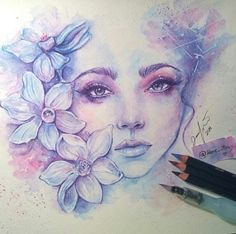 art, drawing, and flowers image Amazing Drawings, Beautiful Drawings, Cool Drawings, Drawing Sketches, Amazing Art, Beautiful Girl Sketch, Sketching, Art Inspo, Painting & Drawing