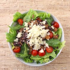 Taco Salad Bowl - leftover taco meat (includes recipe link), black beans, romaine lettuce, grape tomatoes, salsa, shredded cheese