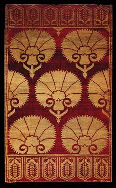 silk velvet ottoman yastik, probably with graphic carnation motif and tulip borders Textiles, Textile Patterns, Textile Design, Fabric Design, Print Patterns, Design Design, Pattern Texture, Red Pattern, Empire Ottoman