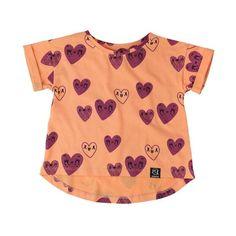 Kukukid Orange Hearts T-Shirt - Online kids store A Little Bit of Cheek