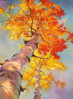 Fine Art and You: Ivan Alifan Jdanov Watercolor Trees, Watercolor Landscape, Landscape Art, Watercolor Paintings, Watercolors, Oil Painting Trees, Portrait Paintings, Gouache Painting, Painting Abstract