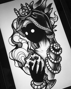 darkhead tattoo design blackwork monster creature creepy dotwork skull smoke Graal holy crown queen princess