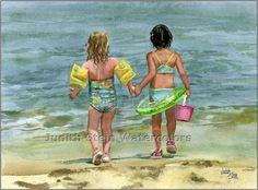 judith stein watercolors | Shore Children Watercolor, Judith Stein