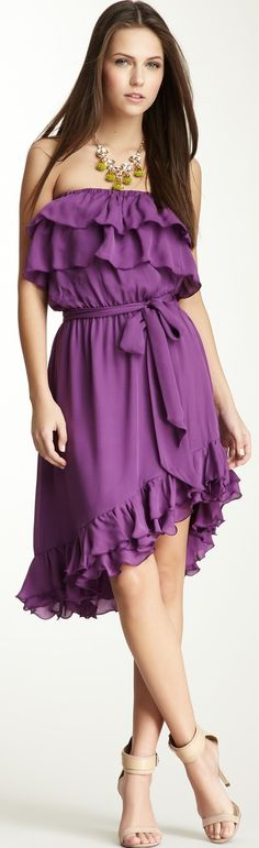 Haute Hippie Strapless Ruffle Silk Dress♥✤ | Keep the Glamour | BeStayBeautiful