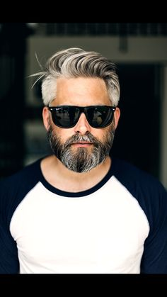 Model swedish grey hair silverfox mens style beard grooming silver male men's apperal men's clothes suit tshirt man men