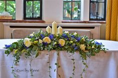 Images For > Royal Blue And Silver Wedding Bouquets Wedding Top Table Flowers, Blue And Silver, Blue And White, Table Centerpieces, Table Decorations, February Wedding, Delphinium, Bride Bouquets, Floral Arrangements