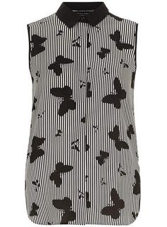 This shirt is kinda trippy Black and White Butterfly Sleeveless Shirt
