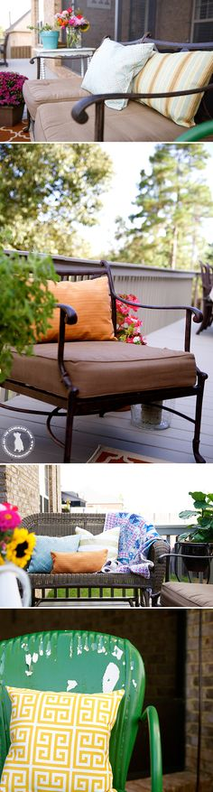 the back porch makeover {before & after} - layered stories with awesome fabric from our fave @OnlineFabricOFS ;}