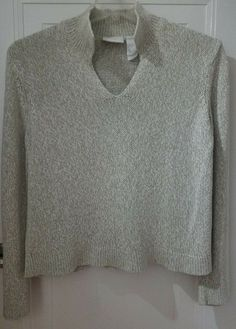 6338313f68 Liz Claiborne Womens Sweater Size Large Beige V-Neck Long Sleeves Cotton  Blend  LizSport
