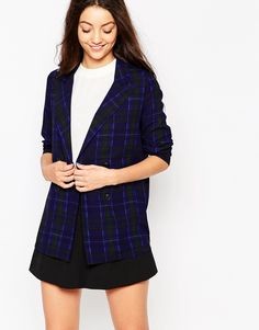 Neon Rose Clueless Blazer In Check Print