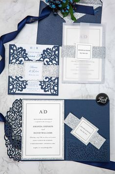 classic blue and silver wedding invitations #EWI #blueweddingcolors #weddinginvitations #lasercutweddinginvitations