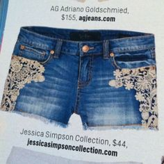 Lace and Denim shorts from the Jessica Simpson Collection, as seen in Cosmo.