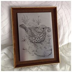 Vintage Hand Produced Etching on Stainless Steel, Bird with Snail.  Omicways Ltd, England by BoBisBitsofVintage on Etsy