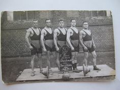 Postkarte Stolp in Pommern, Gewichtheber, 1926, Foto AK, ATUSB, Sport, Männer