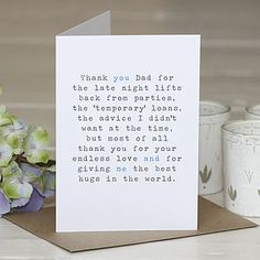 'Thank You Dad' Greetings Card