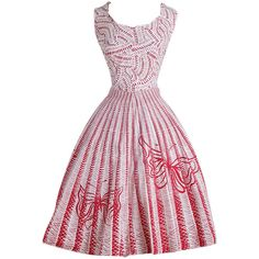 Pre-owned Vintage 1950s Red Butterfly Cotton Dress ($225) ❤ liked on Polyvore featuring dresses, cocktail dresses, day dresses, red stripe dress, red cotton dress, red striped dress, white dress and vintage dresses