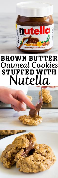 Brown Butter Oatmeal Cookies Stuffed with Nutella.  Oatmeal Cookie part made with no refined sugar. \\ immaEatThat