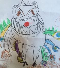 Our 8-yr-old #author and #illustrator will help illustrate our third book with monsters like this one!