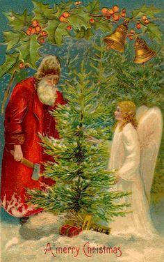 Father Christmas and an Angel celebrate Christmas.