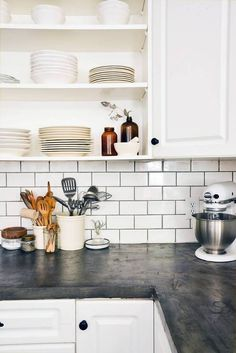 24 Countertops That Flip The Script On Traditional Marble White Subway Tile Backsplashkitchen