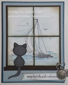 "Seaside View card by the very talented Jackie Topa. Cat is punched using the Blossom Petals Punch and 3/4"" x 15/16"" Oval Punch. There is a link to a free downloadable file of the tutorial."