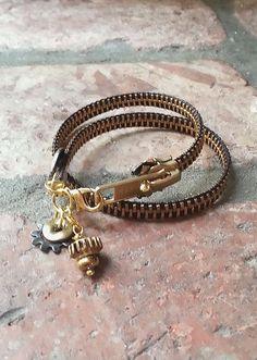 Zipper Charm Double Band Bracelet by ShopLuLuRo on Etsy, $35.00