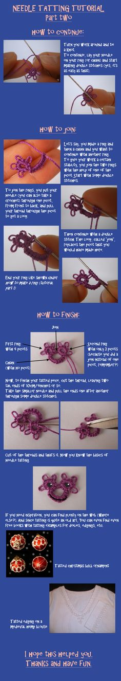 Needle tatting tutorial part 2 by *digikijo on deviantART