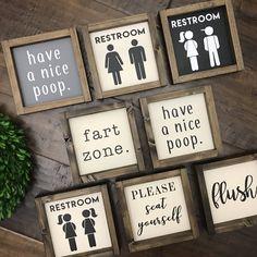 Mini Collection - Bathroom Sign | Wood Sign | Kids Bathroom | Bathroom Wall Decor | Restroom Bathroom Decor | Farmhouse Bathroom | Fixer Upper #affiliate #bathroomdecor #rustic #farmhouse